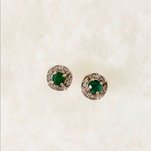 Solid 10K Gold Emerald & Diamond Stud Earrings